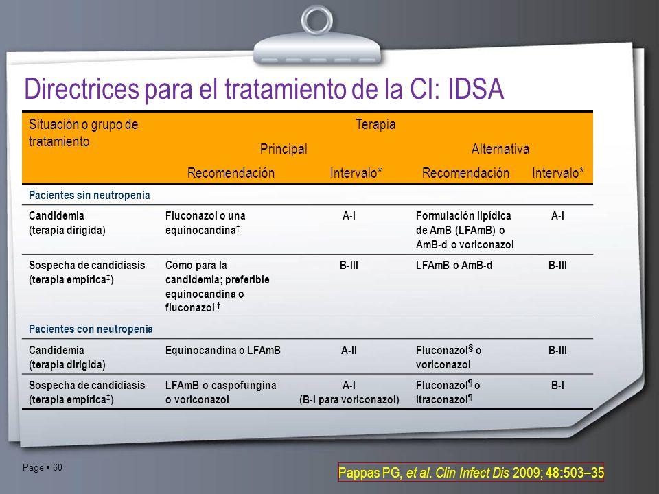 Page 60 Directrices para el tratamiento de la CI: IDSA Pappas PG, et al. Clin Infect Dis 2009; 48: 503–35 Situación o grupo de tratamiento Terapia Pri