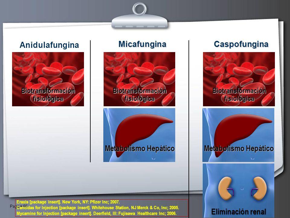 Page 66 Eliminación renal Metabolismo Hepático Anidulafungina CaspofunginaMicafungina Biotransformación fisiológica Metabolismo Hepático Biotransforma