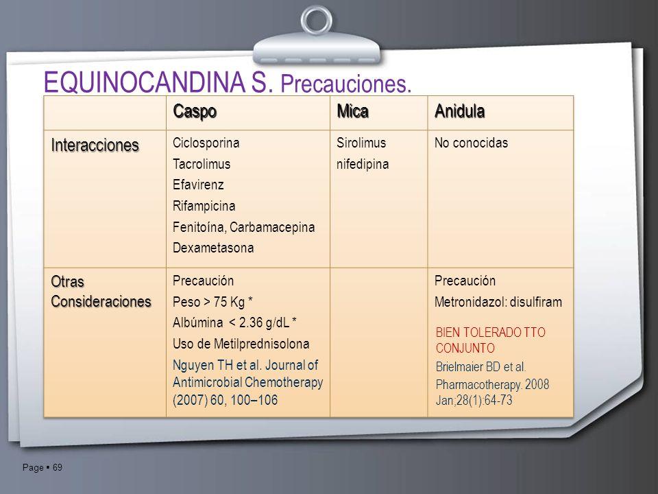 Page 69 BIEN TOLERADO TTO CONJUNTO Brielmaier BD et al. Pharmacotherapy. 2008 Jan;28(1):64-73 EQUINOCANDINA S. Precauciones.