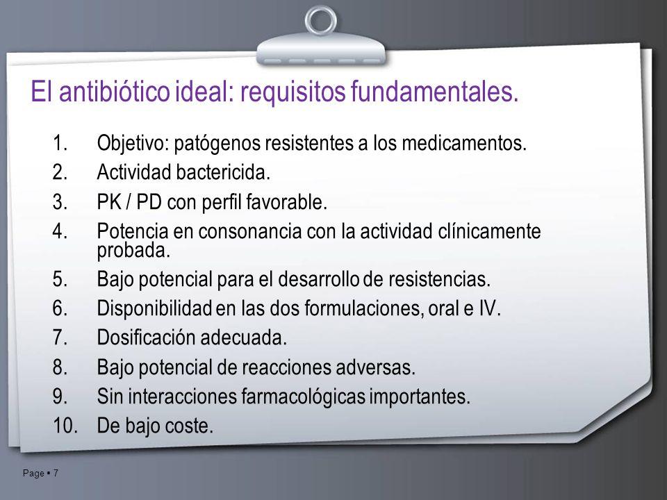 Page 7 El antibiótico ideal: requisitos fundamentales. 1.Objetivo: patógenos resistentes a los medicamentos. 2.Actividad bactericida. 3.PK / PD con pe