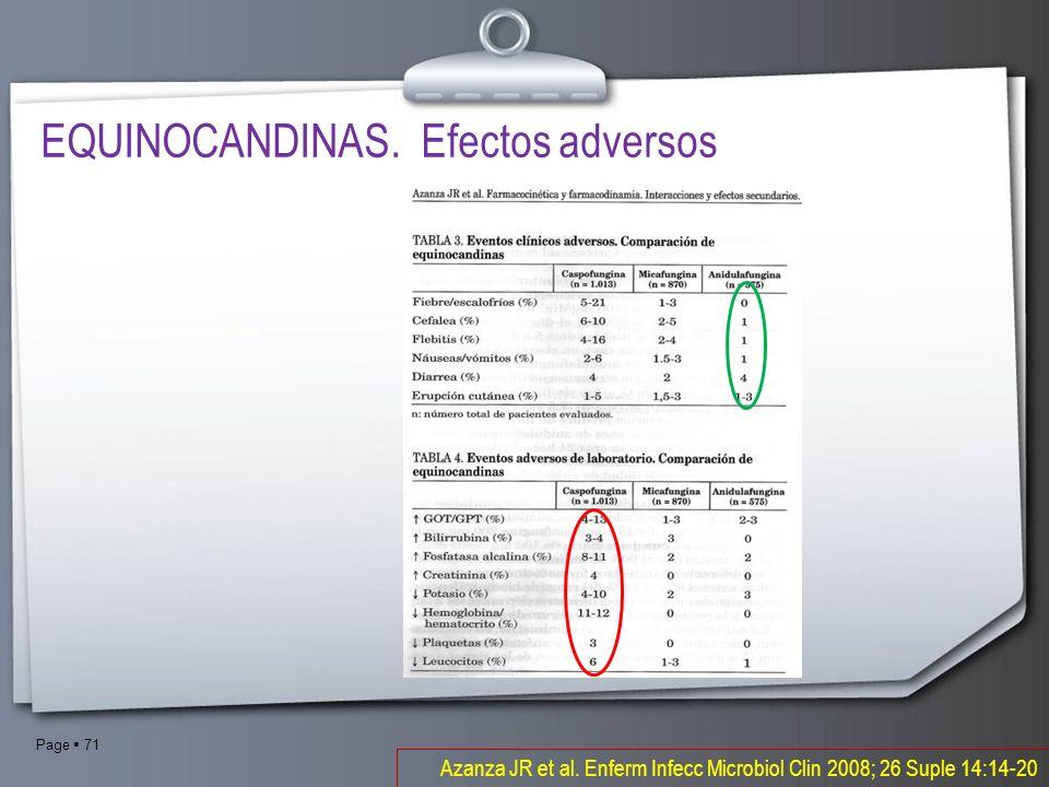 Page 71 Azanza JR et al. Enferm Infecc Microbiol Clin 2008; 26 Suple 14:14-20 EQUINOCANDINAS. Efectos adversos