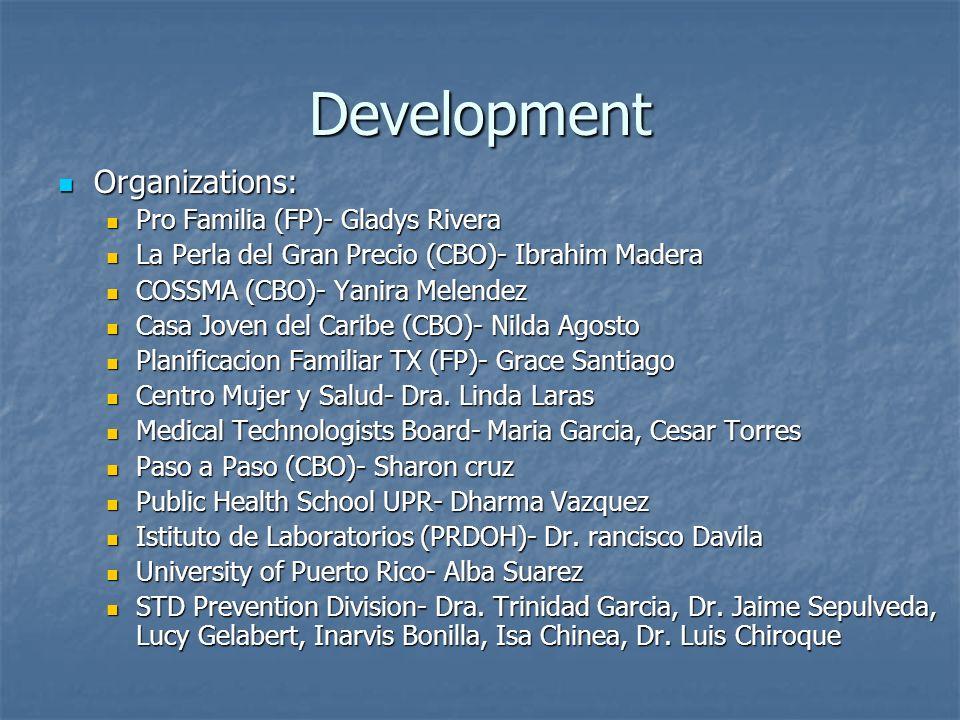 Development Organizations: Organizations: Pro Familia (FP)- Gladys Rivera Pro Familia (FP)- Gladys Rivera La Perla del Gran Precio (CBO)- Ibrahim Madera La Perla del Gran Precio (CBO)- Ibrahim Madera COSSMA (CBO)- Yanira Melendez COSSMA (CBO)- Yanira Melendez Casa Joven del Caribe (CBO)- Nilda Agosto Casa Joven del Caribe (CBO)- Nilda Agosto Planificacion Familiar TX (FP)- Grace Santiago Planificacion Familiar TX (FP)- Grace Santiago Centro Mujer y Salud- Dra.