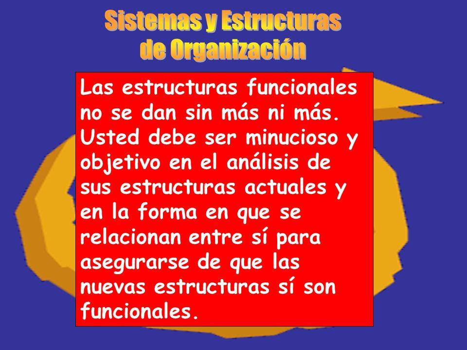 Las estructuras funcionales no se dan sin más ni más. Usted debe ser minucioso y objetivo en el análisis de sus estructuras actuales y en la forma en