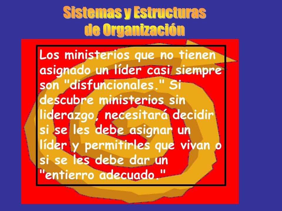 Los ministerios que no tienen asignado un líder casi siempre son