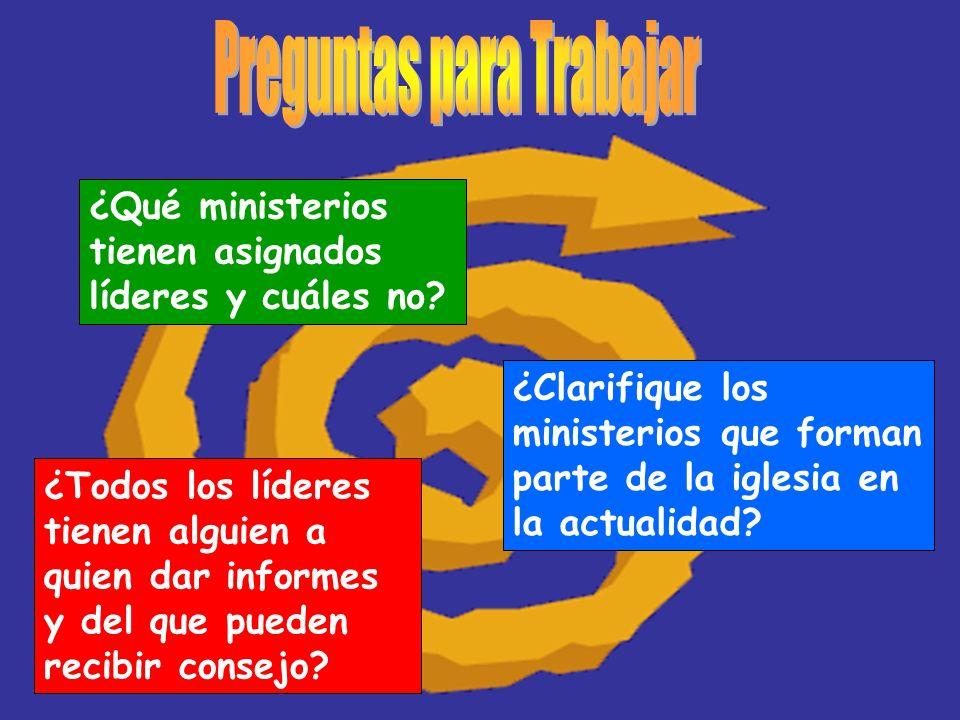 ¿Qué ministerios tienen asignados líderes y cuáles no? ¿Clarifique los ministerios que forman parte de la iglesia en la actualidad? ¿Todos los líderes