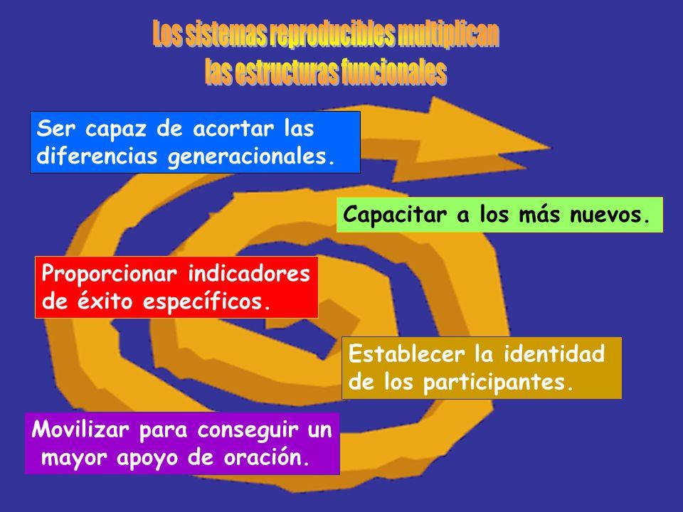 Ser capaz de acortar las diferencias generacionales. Capacitar a los más nuevos. Proporcionar indicadores de éxito específicos. Establecer la identida