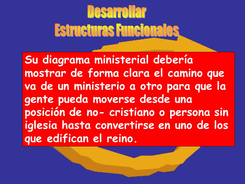 Su diagrama ministerial debería mostrar de forma clara el camino que va de un ministerio a otro para que la gente pueda moverse desde una posición de