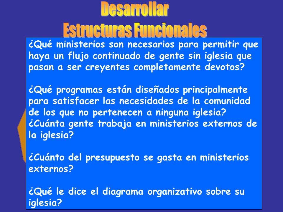 ¿Qué ministerios son necesarios para permitir que haya un flujo continuado de gente sin iglesia que pasan a ser creyentes completamente devotos? ¿Qué