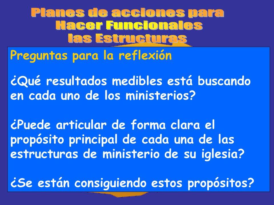 Preguntas para la reflexión ¿Qué resultados medibles está buscando en cada uno de los ministerios? ¿Puede articular de forma clara el propósito princi