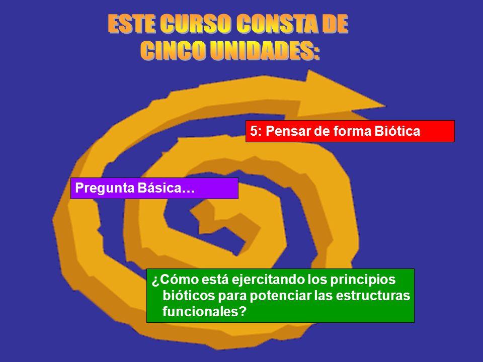 5: Pensar de forma Biótica Pregunta Básica… ¿Cómo está ejercitando los principios bióticos para potenciar las estructuras funcionales?