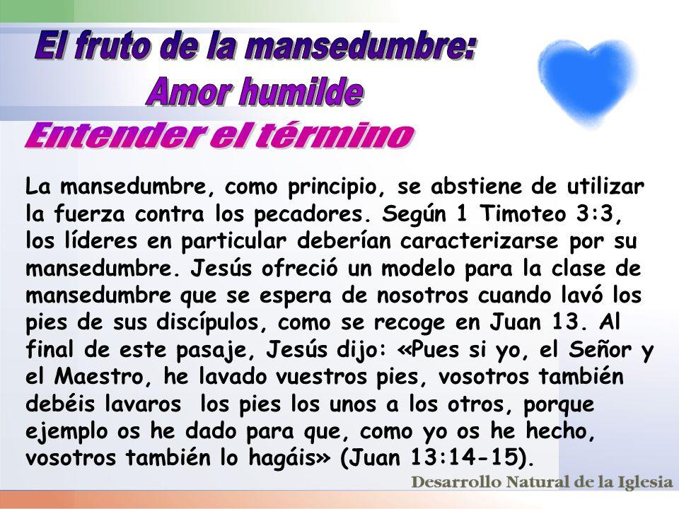 La mansedumbre, como principio, se abstiene de utilizar la fuerza contra los pecadores. Según 1 Timoteo 3:3, los líderes en particular deberían caract