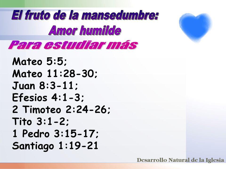 Mateo 5:5; Mateo 11:28-30; Juan 8:3-11; Efesios 4:1-3; 2 Timoteo 2:24-26; Tito 3:1-2; 1 Pedro 3:15-17; Santiago 1:19-21