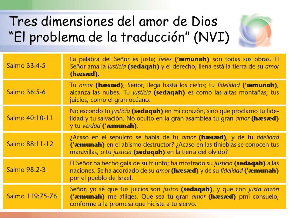 Tres dimensiones del amor de Dios El problema de la traducción (NVI)
