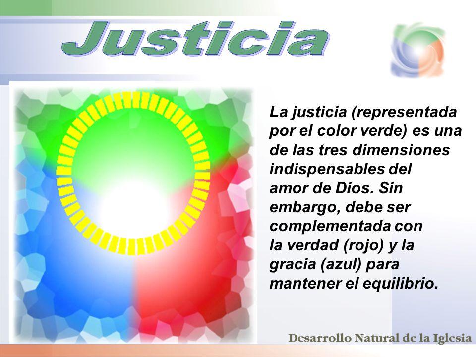 La justicia (representada por el color verde) es una de las tres dimensiones indispensables del amor de Dios. Sin embargo, debe ser complementada con