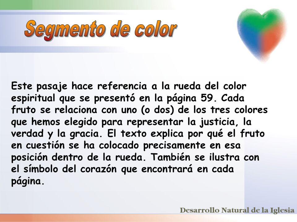 Este pasaje hace referencia a la rueda del color espiritual que se presentó en la página 59. Cada fruto se relaciona con uno (o dos) de los tres color
