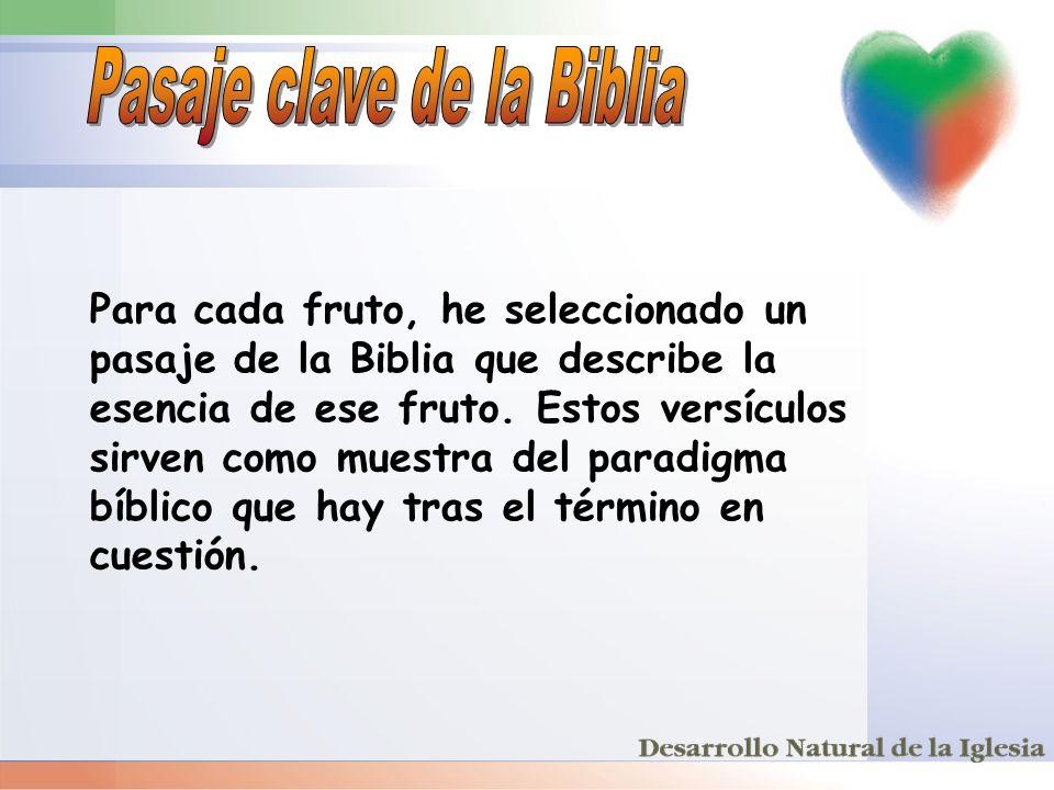 Para cada fruto, he seleccionado un pasaje de la Biblia que describe la esencia de ese fruto. Estos versículos sirven como muestra del paradigma bíbli