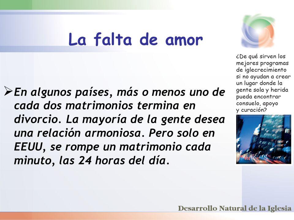 La falta de amor En algunos países, más o menos uno de cada dos matrimonios termina en divorcio. La mayoría de la gente desea una relación armoniosa.