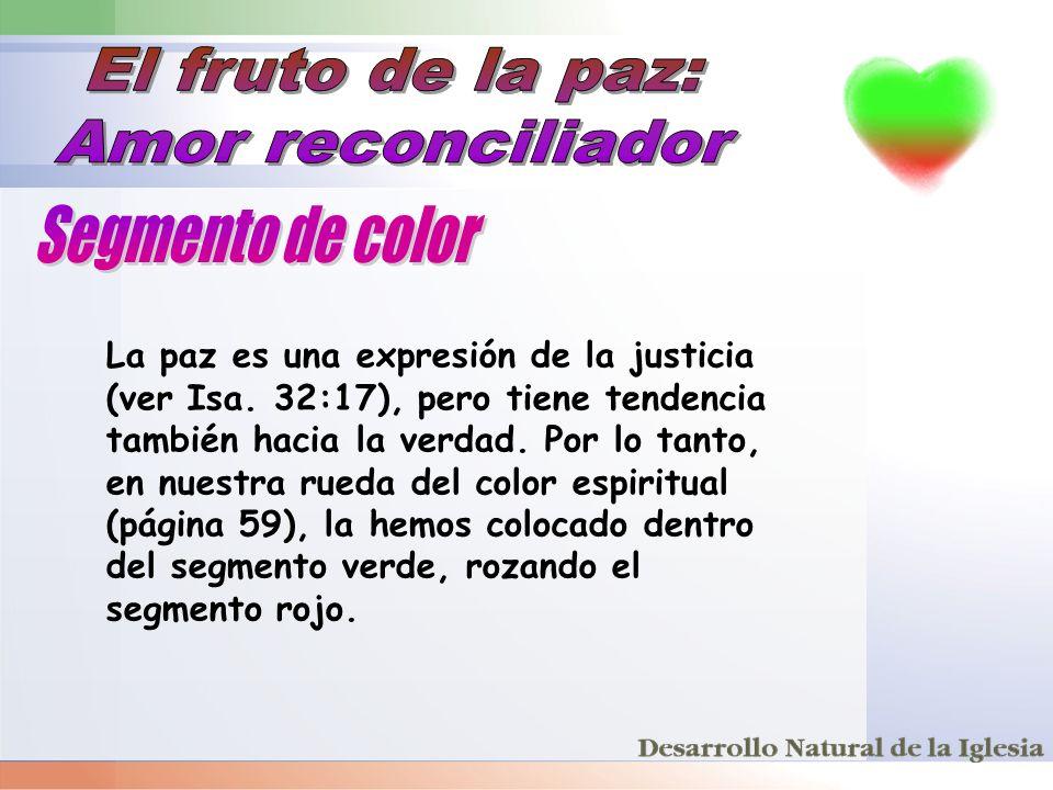 La paz es una expresión de la justicia (ver Isa. 32:17), pero tiene tendencia también hacia la verdad. Por lo tanto, en nuestra rueda del color espiri