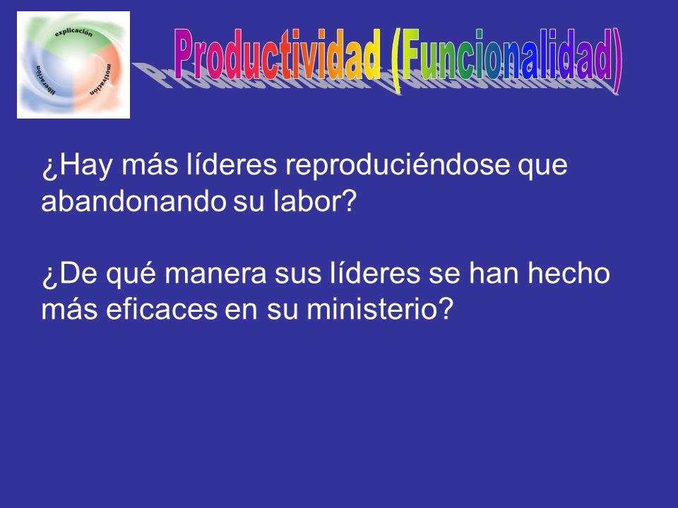 ¿Hay más líderes reproduciéndose que abandonando su labor? ¿De qué manera sus líderes se han hecho más eficaces en su ministerio?
