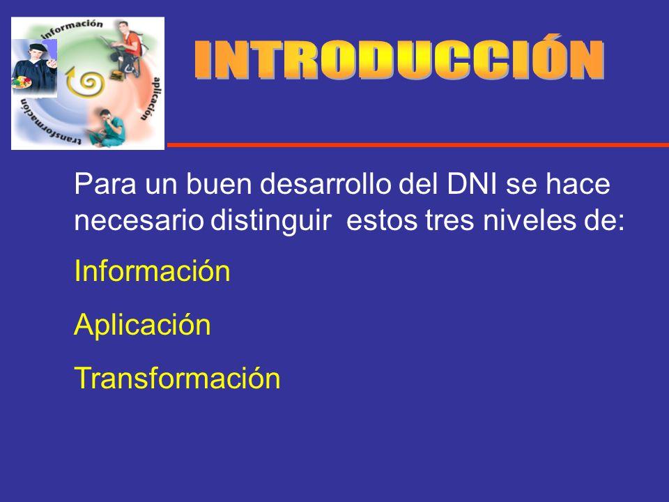 Para un buen desarrollo del DNI se hace necesario distinguir estos tres niveles de: Información Aplicación Transformación