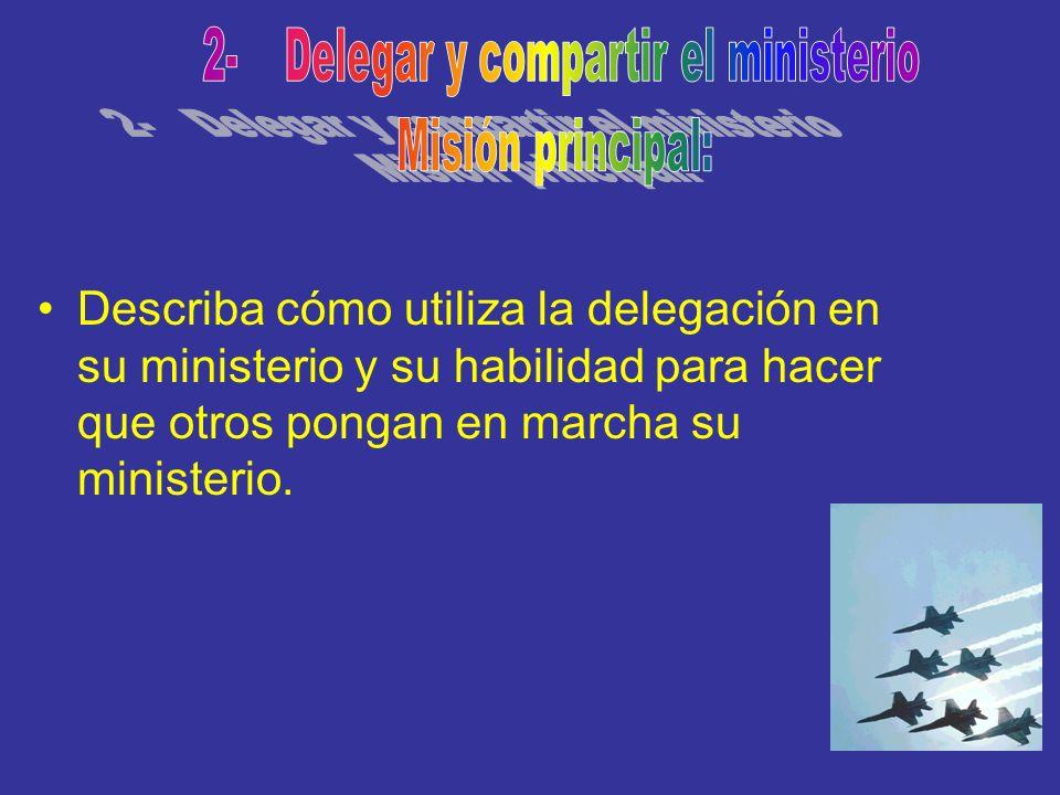 Describa cómo utiliza la delegación en su ministerio y su habilidad para hacer que otros pongan en marcha su ministerio.