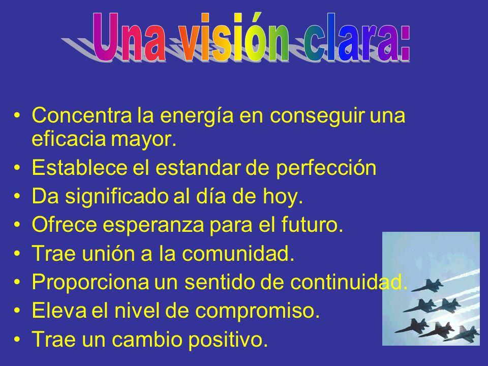 Concentra la energía en conseguir una eficacia mayor. Establece el estandar de perfección Da significado al día de hoy. Ofrece esperanza para el futur
