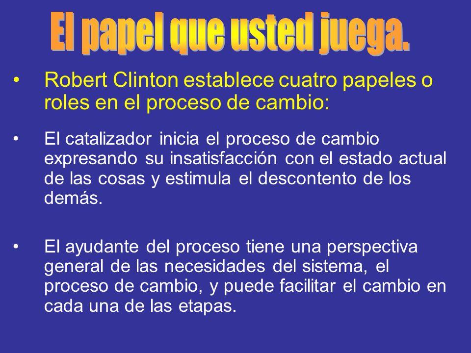 Robert Clinton establece cuatro papeles o roles en el proceso de cambio: El catalizador inicia el proceso de cambio expresando su insatisfacción con e
