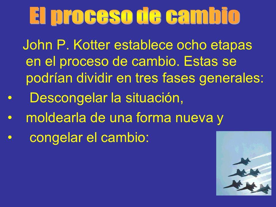 John P. Kotter establece ocho etapas en el proceso de cambio. Estas se podrían dividir en tres fases generales: Descongelar la situación, moldearla de