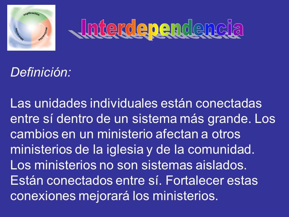 Definición: Las unidades individuales están conectadas entre sí dentro de un sistema más grande. Los cambios en un ministerio afectan a otros minister