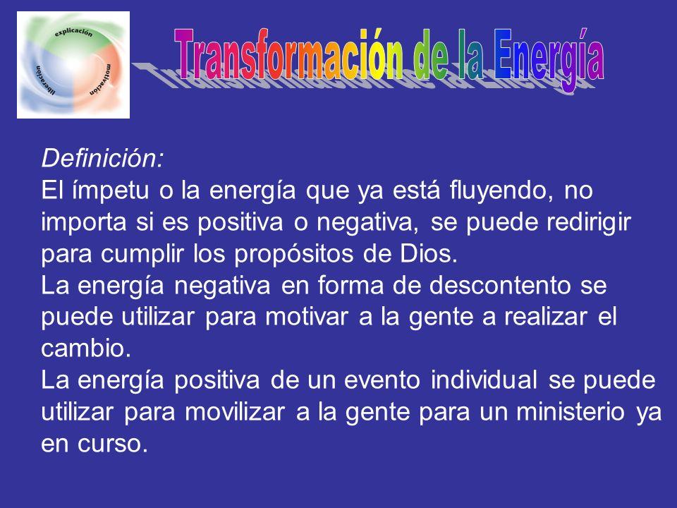 Definición: El ímpetu o la energía que ya está fluyendo, no importa si es positiva o negativa, se puede redirigir para cumplir los propósitos de Dios.
