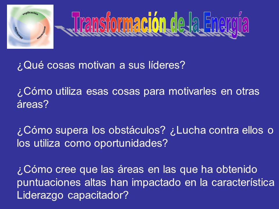 ¿Qué cosas motivan a sus líderes? ¿Cómo utiliza esas cosas para motivarles en otras áreas? ¿Cómo supera los obstáculos? ¿Lucha contra ellos o los util