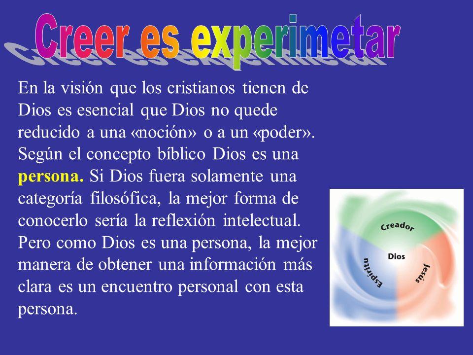 En la visión que los cristianos tienen de Dios es esencial que Dios no quede reducido a una «noción» o a un «poder». Según el concepto bíblico Dios es