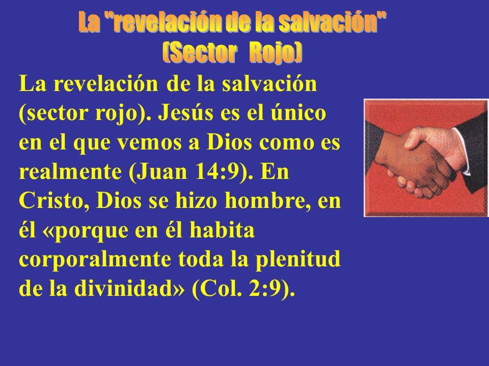 La revelación de la salvación (sector rojo). Jesús es el único en el que vemos a Dios como es realmente (Juan 14:9). En Cristo, Dios se hizo hombre, e