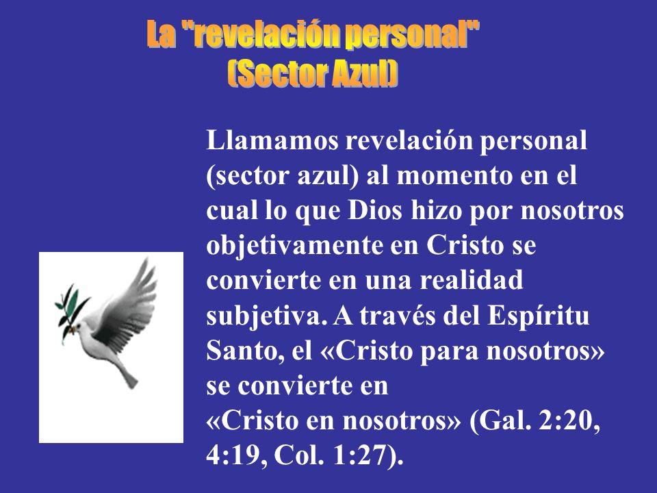 Llamamos revelación personal (sector azul) al momento en el cual lo que Dios hizo por nosotros objetivamente en Cristo se convierte en una realidad su