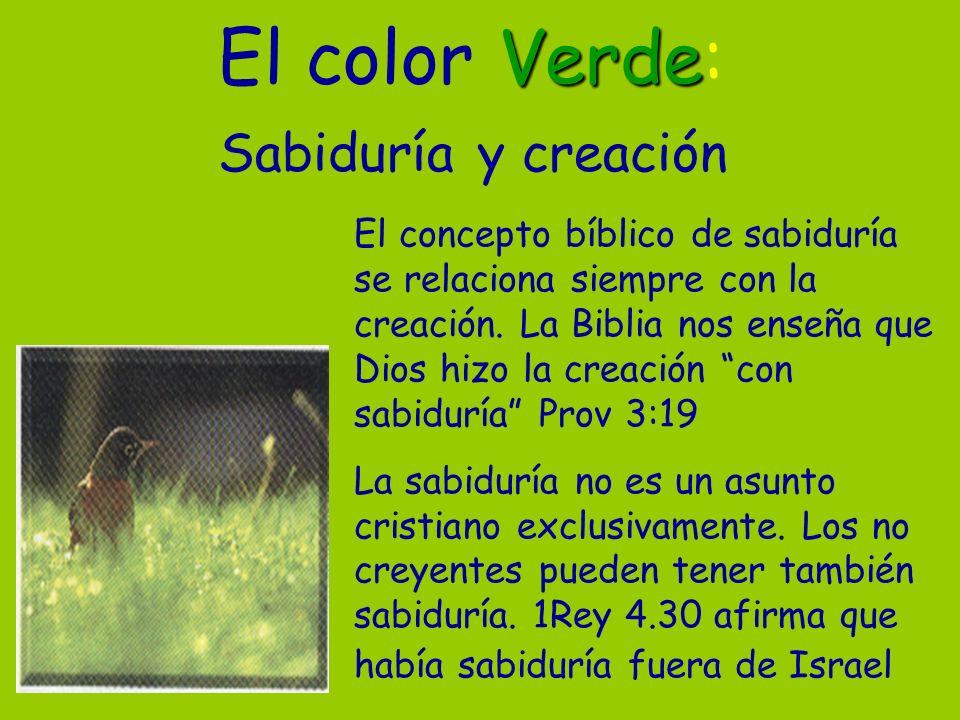 Verde El color Verde: Sabiduría y creación El concepto bíblico de sabiduría se relaciona siempre con la creación. La Biblia nos enseña que Dios hizo l