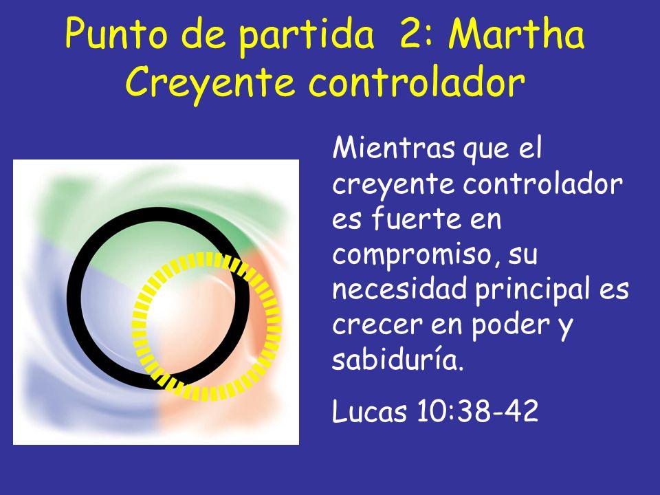 Punto de partida 2: Martha Creyente controlador Mientras que el creyente controlador es fuerte en compromiso, su necesidad principal es crecer en pode