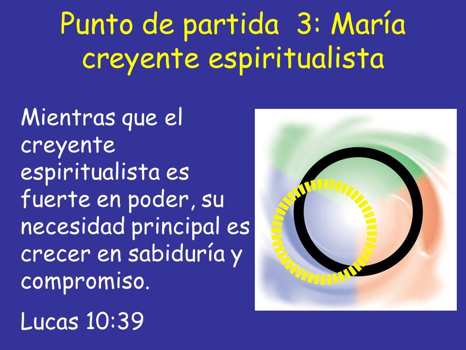 Punto de partida 3: María creyente espiritualista Mientras que el creyente espiritualista es fuerte en poder, su necesidad principal es crecer en sabi