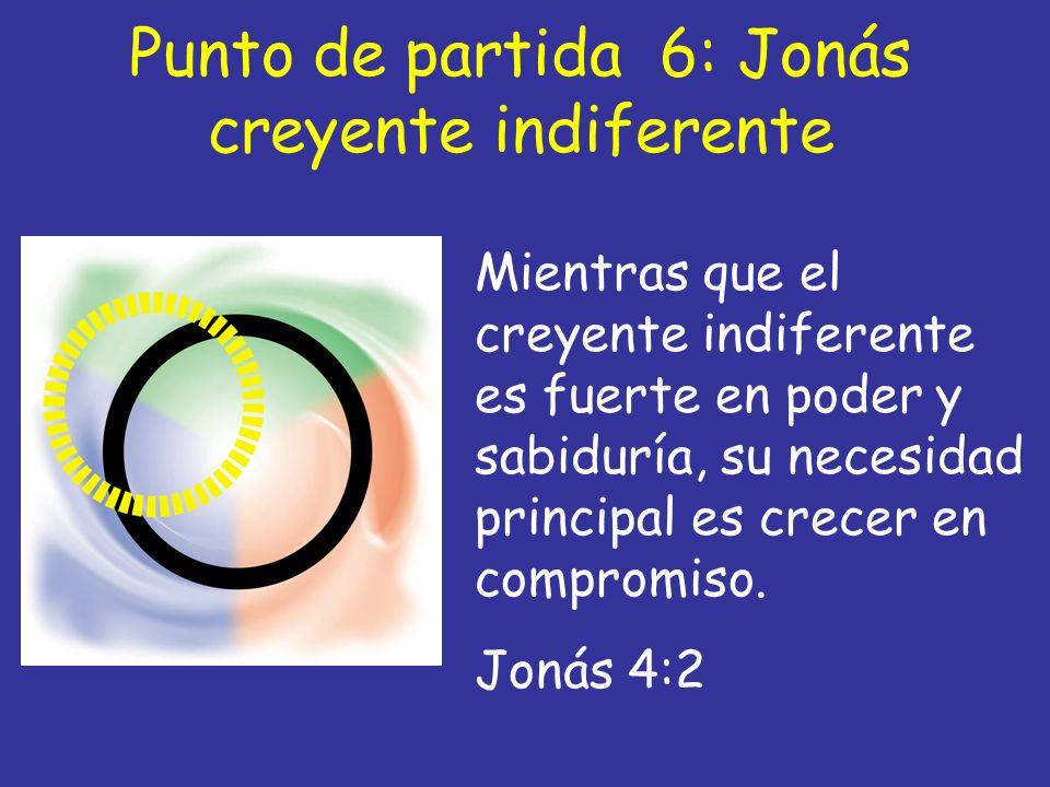 Punto de partida 6: Jonás creyente indiferente Mientras que el creyente indiferente es fuerte en poder y sabiduría, su necesidad principal es crecer e