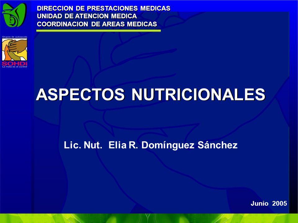 ASPECTOS NUTRICIONALES Junio 2005 DIRECCION DE PRESTACIONES MEDICAS UNIDAD DE ATENCION MEDICA COORDINACION DE AREAS MEDICAS DIRECCION DE PRESTACIONES MEDICAS UNIDAD DE ATENCION MEDICA COORDINACION DE AREAS MEDICAS Lic.