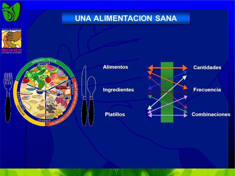 Alimentos Ingredientes Platillos Cantidades Frecuencia Combinaciones UNA ALIMENTACION SANA