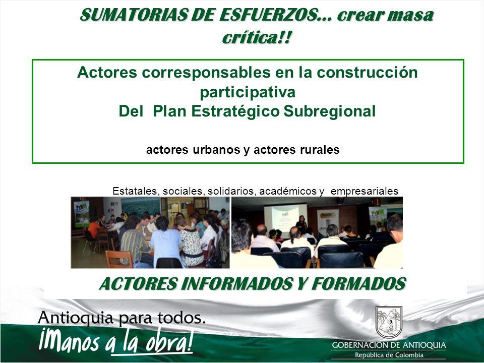 Estatales, sociales, solidarios, académicos y empresariales Organizaciones sociales Comités urbanos, comités rurales, actores urbanos y actores rurale