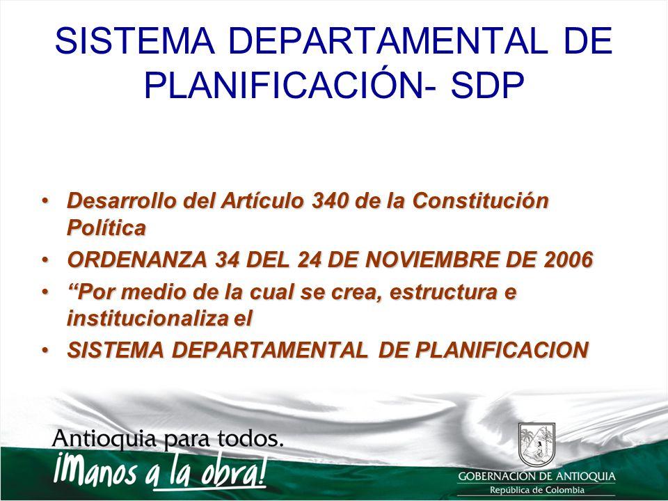 SISTEMA DEPARTAMENTAL DE PLANIFICACIÓN- SDP Desarrollo del Artículo 340 de la Constitución PolíticaDesarrollo del Artículo 340 de la Constitución Polí