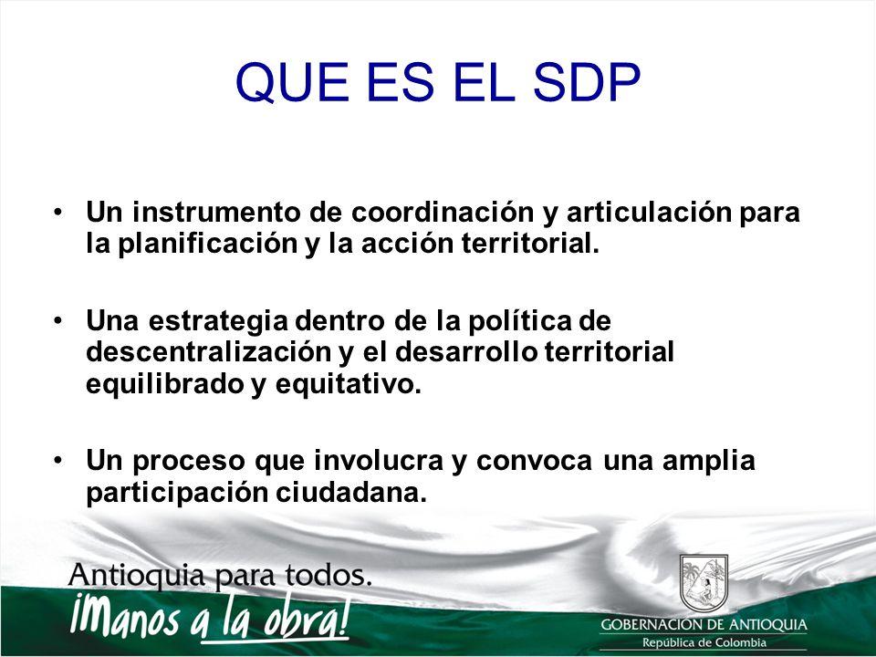 QUE ES EL SDP Un instrumento de coordinación y articulación para la planificación y la acción territorial. Una estrategia dentro de la política de des