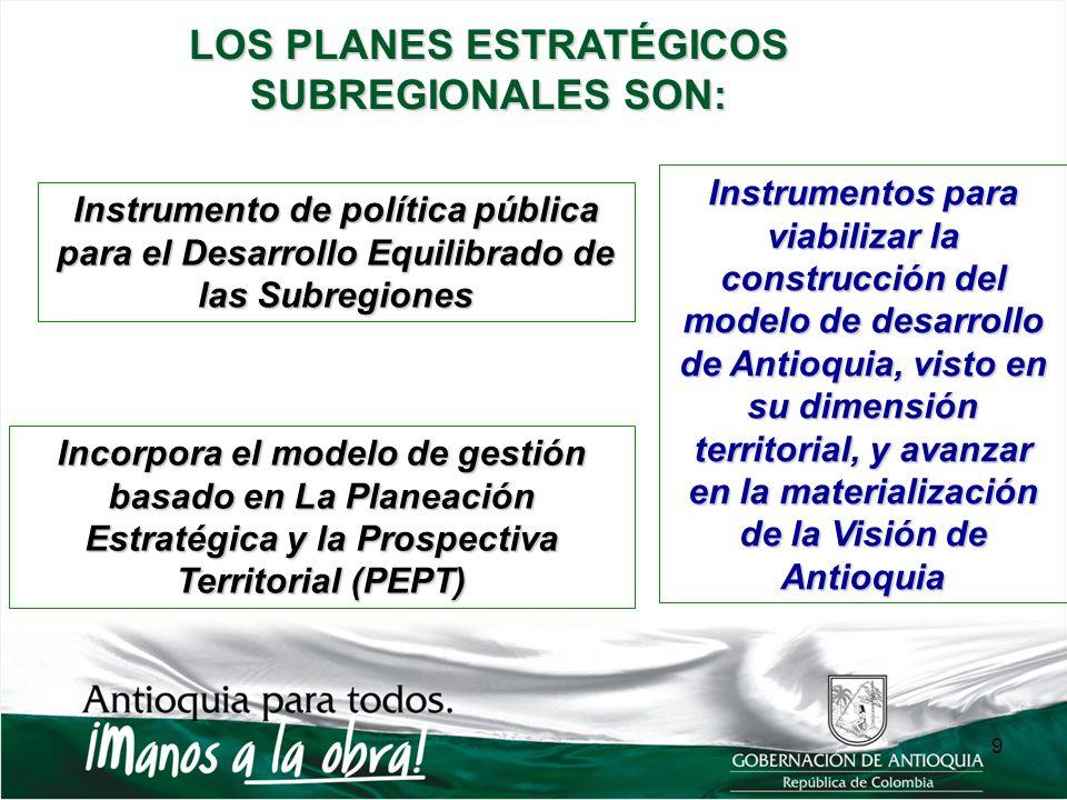 Instrumento de política pública para el Desarrollo Equilibrado de las Subregiones Incorpora el modelo de gestión basado en La Planeación Estratégica y