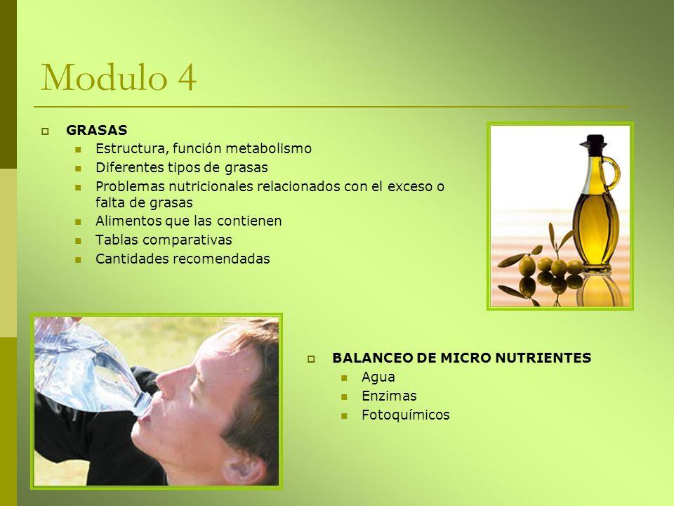Modulo 4 GRASAS Estructura, función metabolismo Diferentes tipos de grasas Problemas nutricionales relacionados con el exceso o falta de grasas Alimen