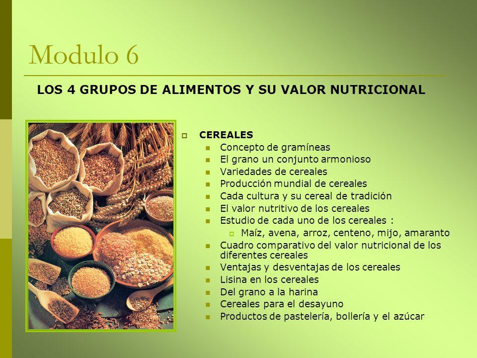 Modulo 6 CEREALES Concepto de gramíneas El grano un conjunto armonioso Variedades de cereales Producción mundial de cereales Cada cultura y su cereal
