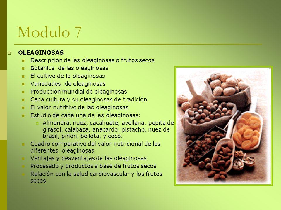 Modulo 7 OLEAGINOSAS Descripción de las oleaginosas o frutos secos Botánica de las oleaginosas El cultivo de la oleaginosas Variedades de oleaginosas