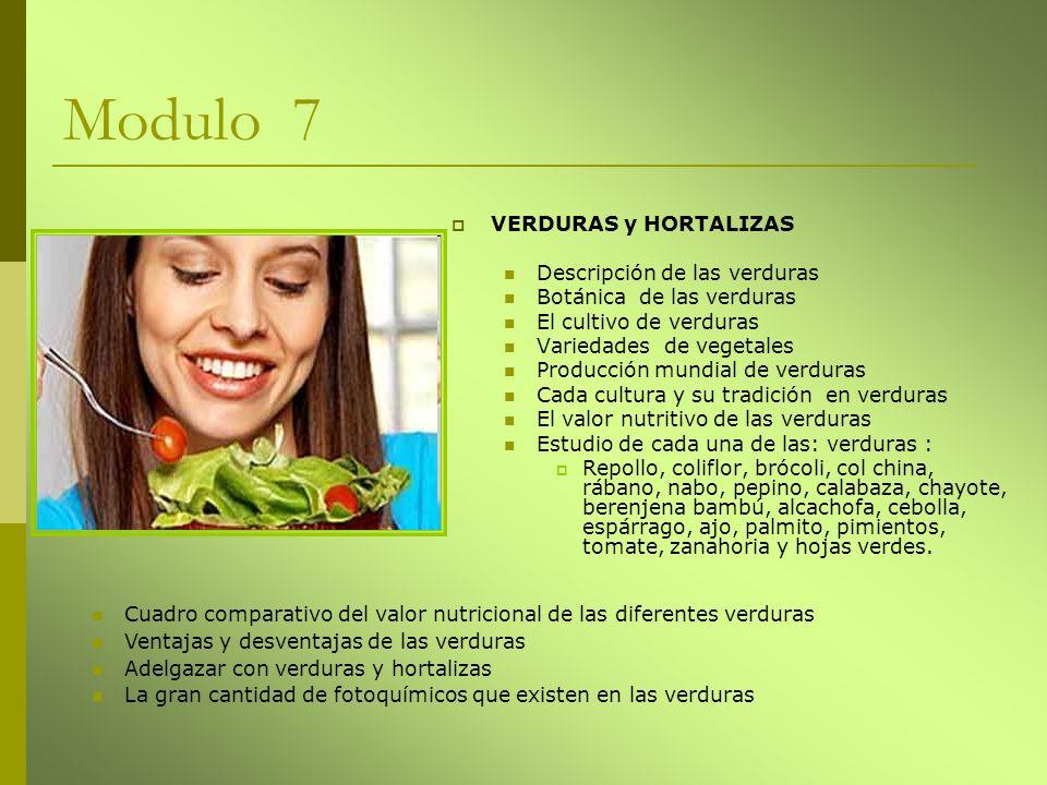 Modulo 7 VERDURAS y HORTALIZAS Descripción de las verduras Botánica de las verduras El cultivo de verduras Variedades de vegetales Producción mundial