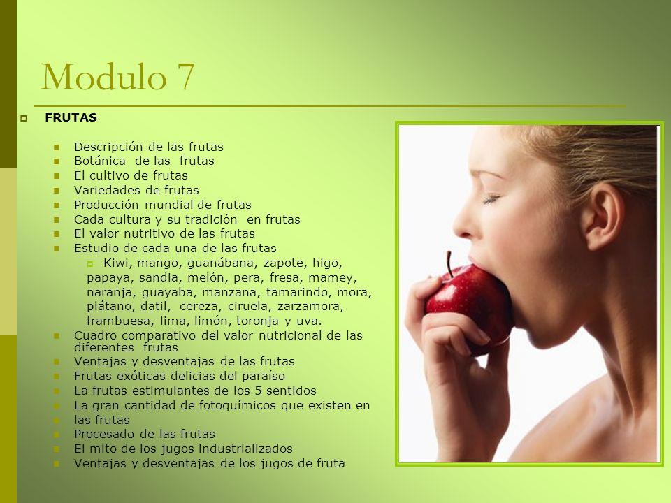 Modulo 7 FRUTAS Descripción de las frutas Botánica de las frutas El cultivo de frutas Variedades de frutas Producción mundial de frutas Cada cultura y