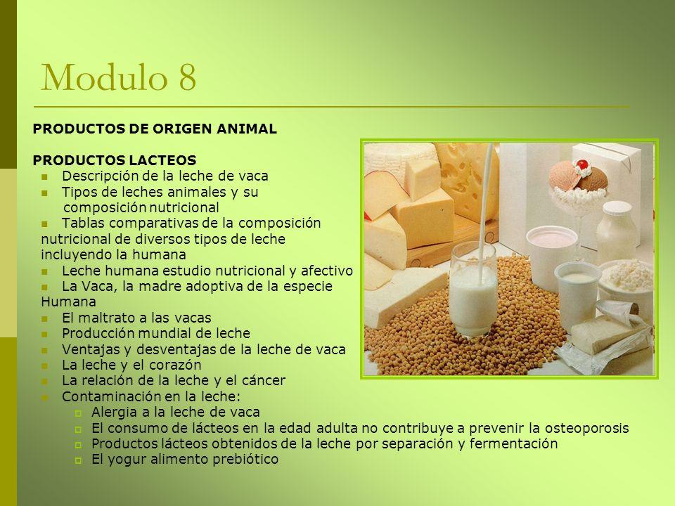 Modulo 8 PRODUCTOS DE ORIGEN ANIMAL PRODUCTOS LACTEOS Descripción de la leche de vaca Tipos de leches animales y su composición nutricional Tablas com